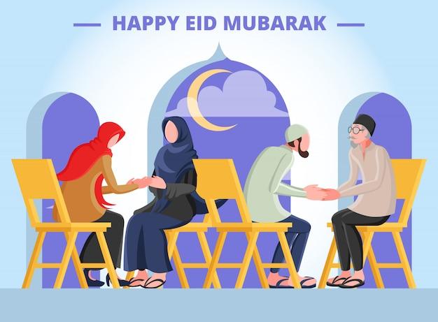 Flache illustration, die einen muslimischen mann und eine muslimische frau darstellt, die hände mit eltern für vergebung am eid mubarak tag schütteln