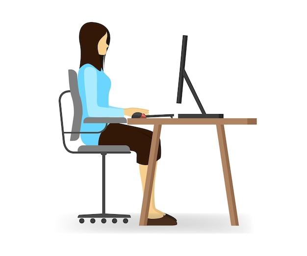 Flache illustration einer frau, die mit ihrem computer sitzt und arbeitet