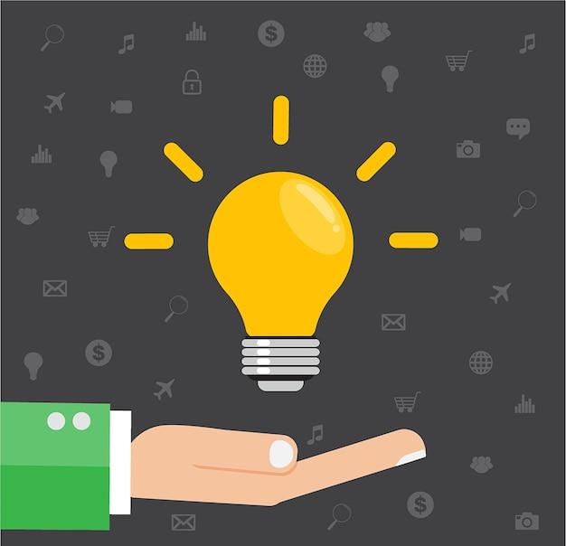 Flache illustration einer hand, die eine ideen-glühlampe hält.