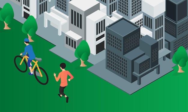 Flache illustration eines mannes, der radfährt und ein anderer mann läuft