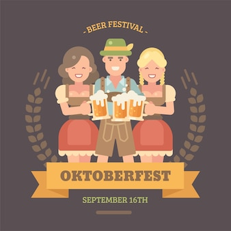 Flache illustration fahne oktoberfest