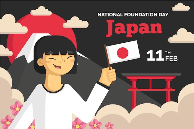 Flache illustration foundation day japan