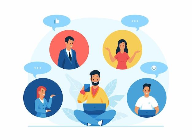 Flache illustration für videokonferenzen