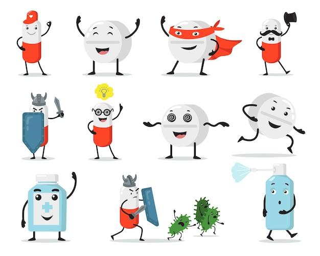 Flache illustration gesetzt niedliche pillen und tabletten. medizinische zeichen der karikatur, die gegen die isolierte vektorillustrationssammlung der viren kämpfen. medizin- und maskottchenkonzept