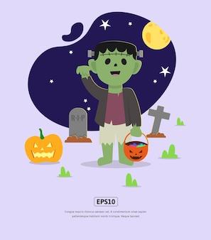Flache illustration, halloween mit frankenstein-monster für design-web, app, infografik, druck usw