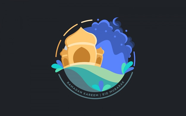 Flache illustration islamische moschee ramadan nacht