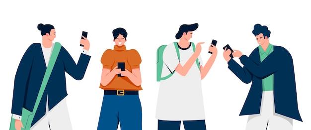 Flache illustration junger leute, die smartphones verwenden