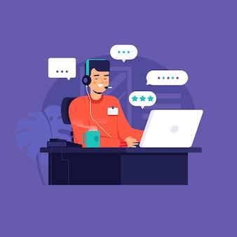 Flache illustration mann kundenbetreuung
