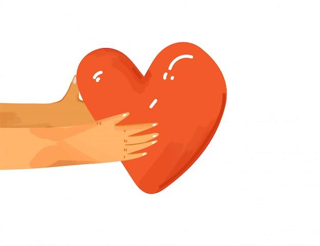 Flache illustration menschliche hände, die liebe, unterstützung, wertschätzung miteinander teilen. hände geben herz als zeichen der verbindung und einheit. liebeskonzept isoliert