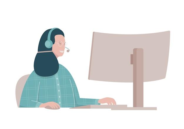 Flache illustration mit frau, die im call center arbeitet.
