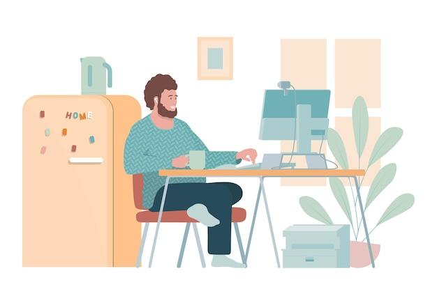 Flache illustration mit freiberuflichem mann, der zu hause arbeitet