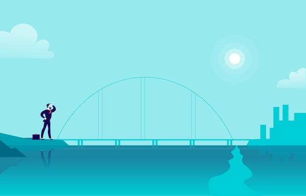 Flache illustration mit geschäftsmann, der an der seeküstenbrücke steht und die stadt auf einer anderen seite betrachtet
