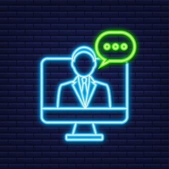 Flache illustration mit kundenservice. 3d-vektor-illustration. kundendienst. neon-symbol.