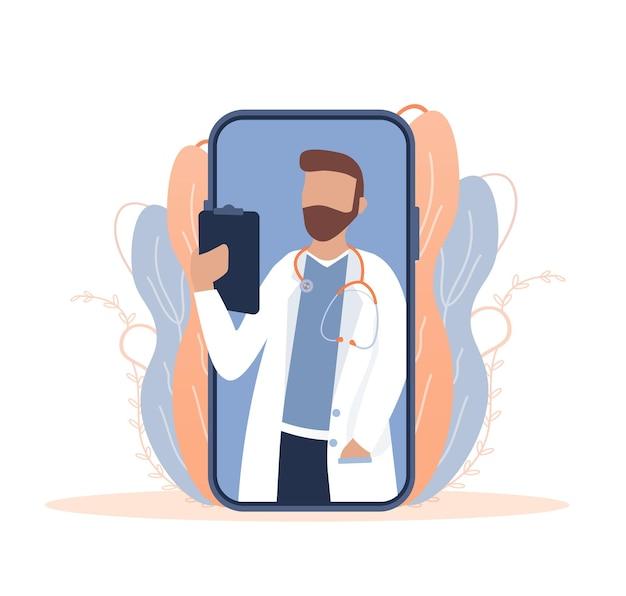 Flache illustration mit online-arzt arztkonsultation