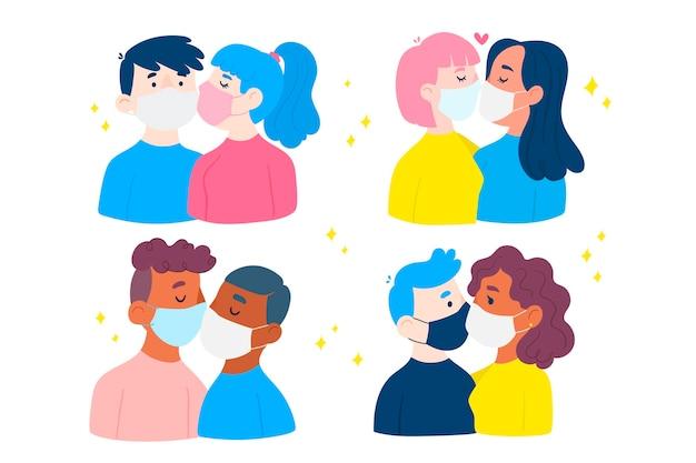 Flache illustration mit paaren, die mit covid maske küssen