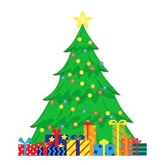 Flache illustration mit verziertem weihnachtsbaum und weihnachtsgeschenken darunter.