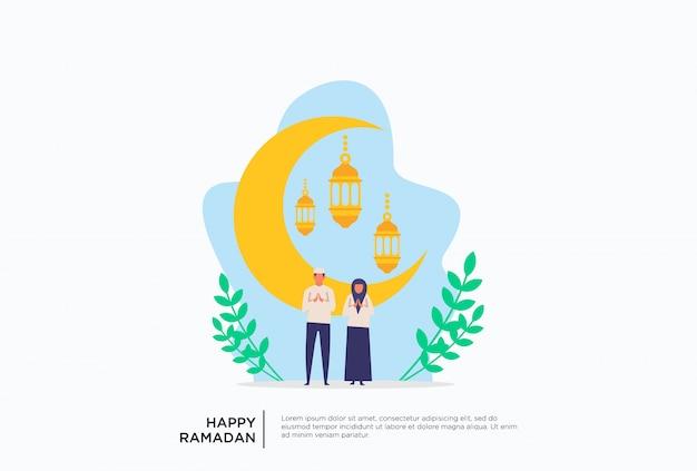 Flache illustration moslemischer familie ramadan