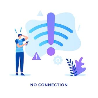 Flache illustration nicht verbundenes signal-wlan-konzept für websites
