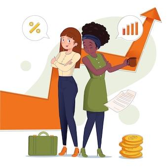 Flache illustration selbstbewusste unternehmerinnen