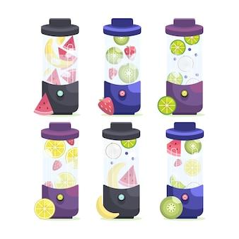 Flache illustration smoothies im mixerglas