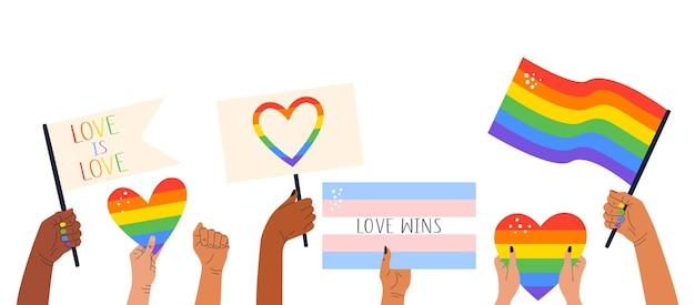Flache illustration von händen, die banner, flaggen mit lgbt-symbolen und regenbogenherzen halten.