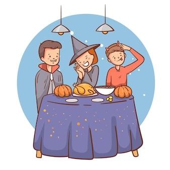 Flache illustration von halloween-leuten, die zu abend essen