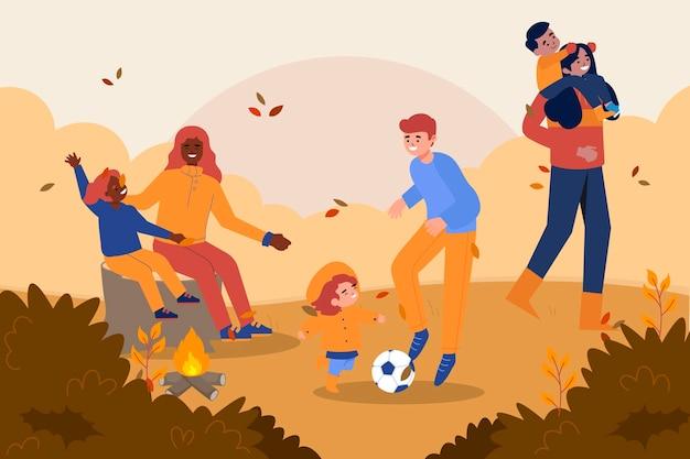 Flache illustration von herbstkindern, die draußen spielen