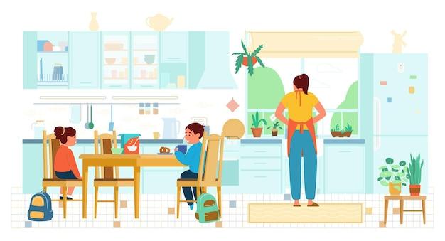 Flache illustration von kindern, die vor der schulmutter frühstücken, die geschirr wäscht