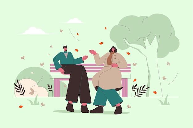 Flache illustration von leuten, die herbstwetter genießen