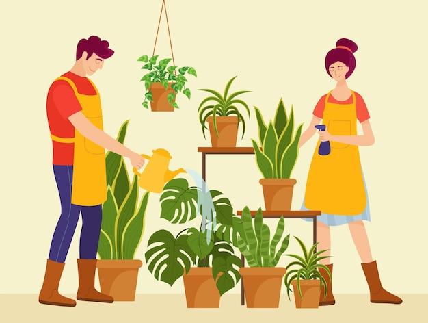 Flache illustration von menschen, die sich um pflanzen kümmern