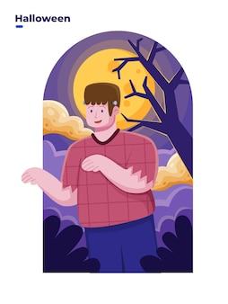 Flache illustration von menschen feiert halloween mit frankenstein-kostüm