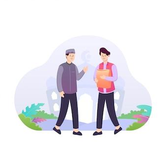 Flache illustration von zwei männern, die almosen- oder zakat-konzept geben