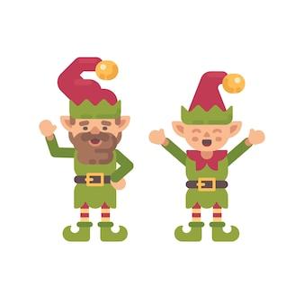 Flache illustration von zwei netten weihnachtselfen. urlaub charakter flache symbol