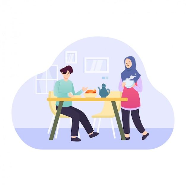 Flache illustration von zwei personen, die iftar-konzept sind