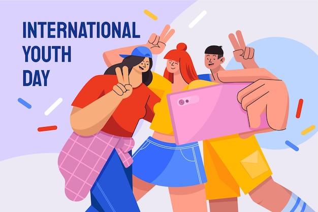 Flache illustration zum internationalen jugendtag