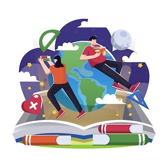 Flache illustration zum internationalen tag der alphabetisierung