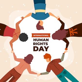 Flache illustration zum internationalen tag der menschenrechte mit den leuten, die händchen halten