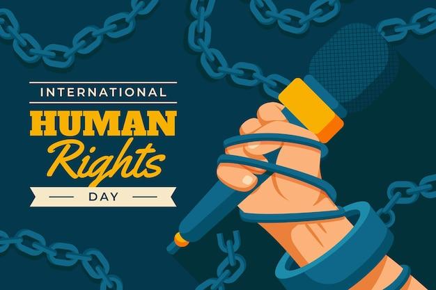 Flache illustration zum internationalen tag der menschenrechte mit handmikrofon in kettenmanschette