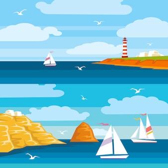 Flache illustration zum meeresthema. schiffe segeln auf dem meer, ein leuchtturm steht auf einer klippe. helle flache illustration für karten, reiseplakate, reisewerbung