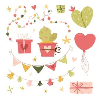 Flache illustration zum valentinstag. sammlungsgestaltungselemente mit kaktus, schönen blumen, herzen. geschenke, ballon, bänder. . grußkarte oder einladung im trendigen stil. vektorillustration