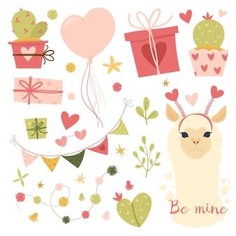 Flache illustration zum valentinstag. sammlungsgestaltungselemente mit lama, kaktus, schönen blumen, herzen. geschenke, ballon, bänder. grußkarte oder einladung im trendigen stil. vektorillustration
