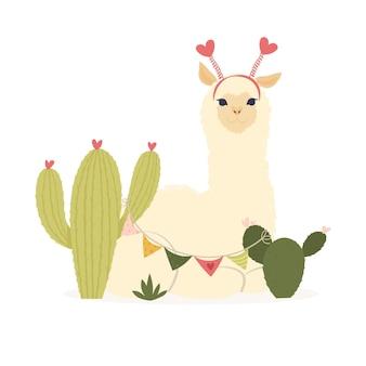 Flache illustration zum valentinstag. sei meine lamantinische karte für mit süßem lama-alpaka und herzen. grußkarte oder einladung im trendigen stil. vektorillustration