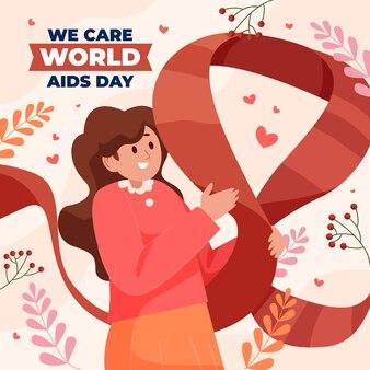 Flache illustration zum welt-aids-tag
