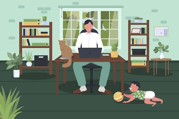 Flache illustration zur vereinbarkeit von berufs- und privatleben.