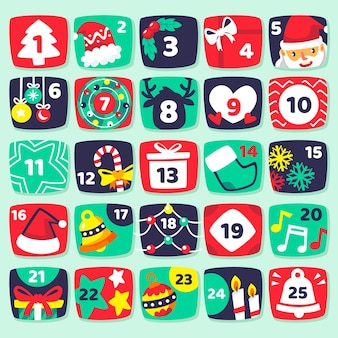Flache illustrationen adventskalender