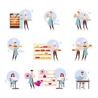 Flache illustrationen der bäckerei und der keramik gesetzt