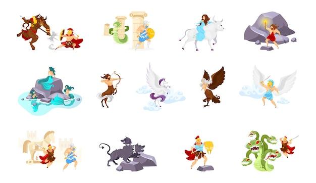 Flache illustrationen der griechischen mythologie eingestellt
