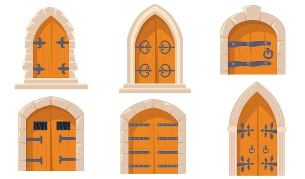 Flache illustrationen der kreativen mittelalterlichen schlosstüren setzen.