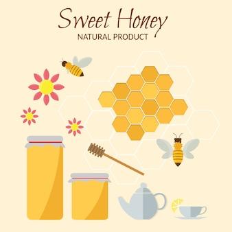 Flache illustrationen des süßen honigvektors