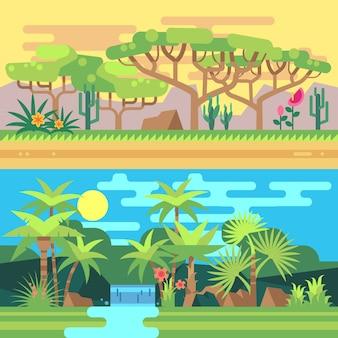 Flache illustrationen des tropischen waldlandschaftsvektors. landschaft mit fluss und palme, illustrati
